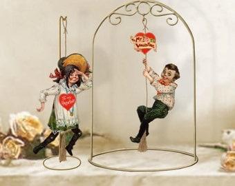 Instant Download Vintage Hillbilly Valentine Jumping Jack Marionette Jester Paper Doll Theater Puppet Articulated Digital Collage Sheet