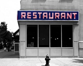 Seinfeld Diner, New York Photography, Large Wall Art, Monk's Diner, Gray, Blue, Red, Toms Restaurant, Seinfeld Art