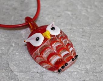 Lampwork Glass Owl Pendant Necklace