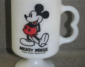 Vintage Mickey Mouse Mug Tall Pedestal Milk Glass