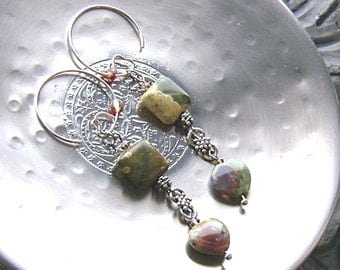 Rhyolite heart gemstone earrings -I Love a Rainforest-Green, Brown, Tan on Silver