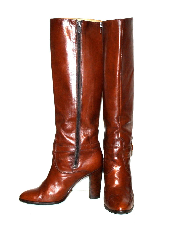 vintage gucci boots brown leather gold emblem buckle 37