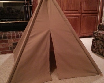 Child's Play Teepee - Wooden Poles Included - Tan/Light Brown