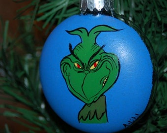"Hand Painted Grinch Christmas Tree Ornament ""He's a Mean One!"""