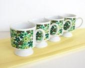 Groovy pedestal cups from the1960s. Hippie era, flower power, green, daisies, H.H.