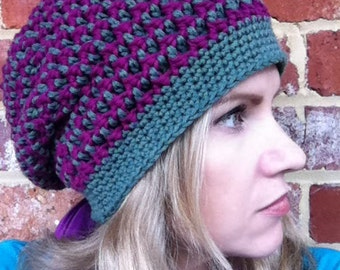 Slouchy hat pattern / textured slouchy beanie crochet pattern No.209 Digital Crochet Pattern