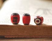 "10pcs Japanese Red Lantern with Writing ""GOOD LUCK"" Porcelain Ceramic beads  -80138"