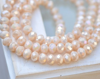 95pcs  Rondelle Faceted Crystal Glass Beads 4x6mm Beige AB -BZ0699