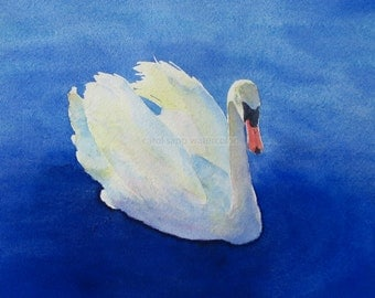 "swan watercolor painting archival print 5"" x 7"""