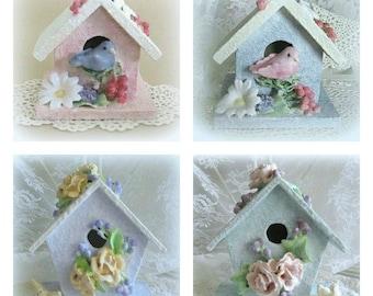 Baby Girl Nursery Bird Decor Wood Birdhouse Decor Baby Girl Room Decor Clay Flower Birdhouse Ornament Flower Bird House Decorative Birdhouse