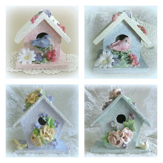 Baby girl nursery bird decor wood birdhouse decor baby girl - Decorating with bird houses ...