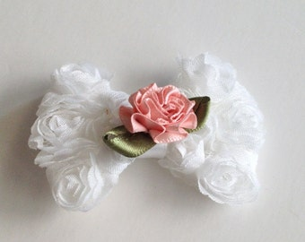 Sale-- clearance Shabby chiffon white and pink flower bow clip. Ready to ship stocking stuffer,