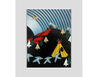 Original COLLAGE art⎮Be careful when you are camping!⎮home decor outsider art