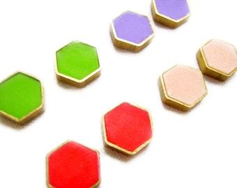 Geometric Hexagon Stud Earrings,  Minimalist Tiny Post Earrings in Peach, Red, Purple, Green