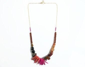 Beaded Gemstone Statement Necklace, Jasper Carnelian Necklace, Bohemian Necklace, Mix Beads Necklace