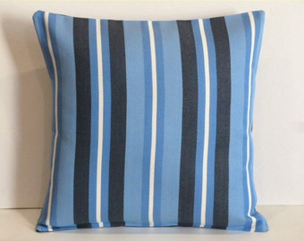 Throw Pillow Decorative Pillow Accent Pillow Cushion Covers Navy Blue White Stripes Indoor/Outdoor 16 x 16