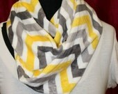 Chevron Stripe Infinity Minky  Circle Scarf - Fashion Scarf - Gray Yellow  White - Fabric Scarf - Multicolor - Extremely Soft  - Cowl Scarf