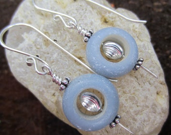 Pale Denim Stone and Sterling Silver Earrings