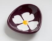 small ceramic dish - dogwood flower on plum