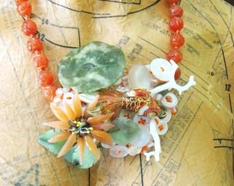 Handmade Beaded Statement Necklace, Jewelry, Folk Art Jewelry, Wil Shepherd, Folk Art Assemblage, Wil Shepherd Studio