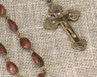 Vintage Rosary , Religious Necklace , Prayer Beads , Religious Jewelry , Religion , Jewelry , Seed Rosary , Altar ,  Vintage Religion