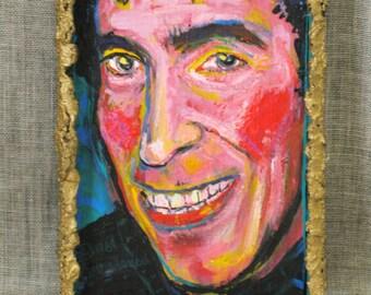 Vintage Male Portrait Painting, Portraiture of Men, Original Fine Art, Anna Arnold, Cleveland Ohio, Hand Painted, Colorful, Acrylic,Gold