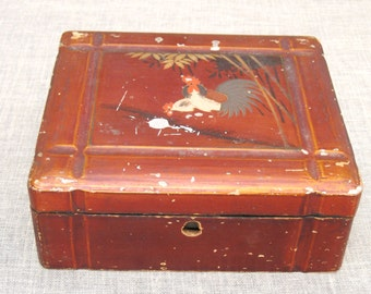 Box , Wooden Box , Antique Japanese Box , Japan , Wooden Box , Antique Wood Box , Asian Design , Storage Box , Vanity Box , Desk Box
