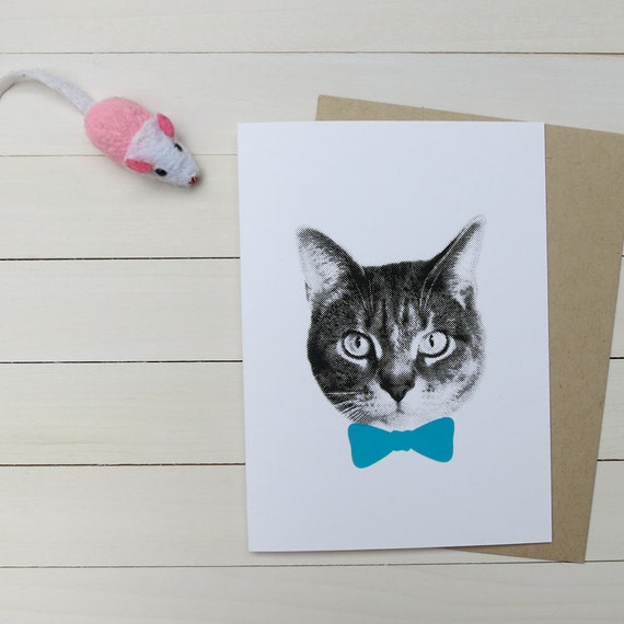 gee whiskers series: screenprinted blue bow tie cat notecard
