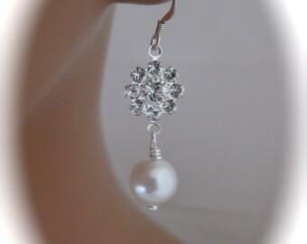 Bridal Pearl Earrings Wedding Jewelry Swarovski Pearl and Crystal Earrings Bridal Jewelry