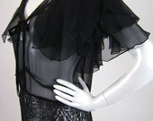 30s Gown / Black Silk Chiffon and Lace / B40 W30 H40 - iandrummondvintage