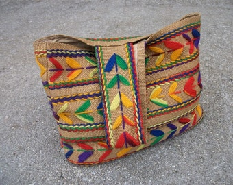 FREE SHIPPING Vintage Mexican Style Woven Burlap Handbag  Purse with Colorful Yarn