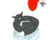 Original Fox Drawing, Woodland, Wildlife Art, Pencil Illustration, Geometry, Fox Lover Gift, Valentine's Day, Fuchs Bleistiftzeichnung,Kunst