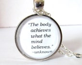 Body and Mind Quote Necklace, The Body Achieves What The Mind Believes - JewelrybyJakemi