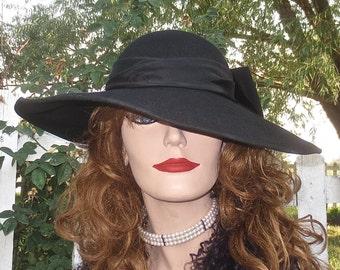 Vintage JAQUELINE FERRAR Black Wool Felt Picture Hat w/ Big Black Satin Bow