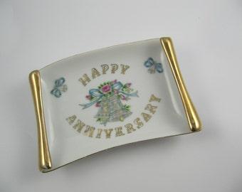 "Vintage Tray Lefton China ""Happy Anniversary"" Japan, Handpainted Dish"