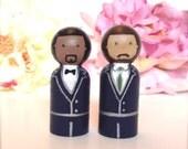 Custom Same Sex Gay Wedding Cake Toppers Wood Peg Dolls Personalized 2 Grooms Homosexual Peg People Anniversary Keepsake