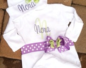 Personalized Baby Gown and Cap Hat Set Boy Girl Hospital Outfit
