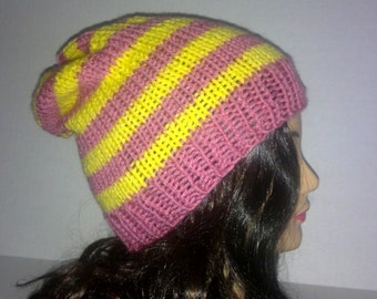 Knit Slouchy Hat, Pink and Yellow Striped Hat