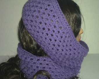 Purple Round Scarf, Womans Round Cowl, Infinity Scarf, Womans Accessories, Purple Scarf