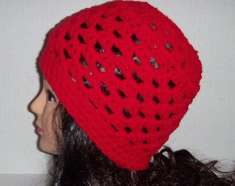 Red Crochet Spring or Fall Beanie Hat