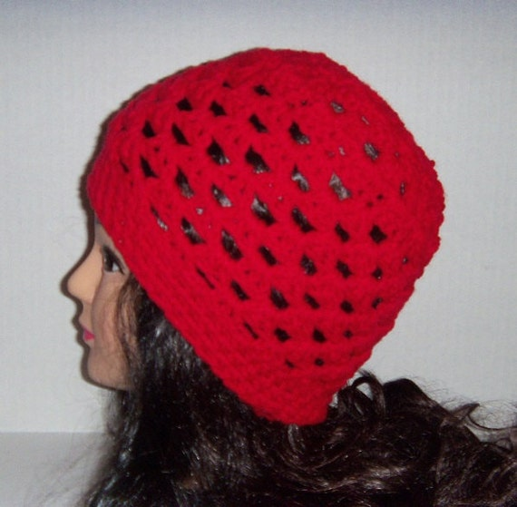 Red Crochet Beanie Summer Hat Spring Hat Womans Red Hat