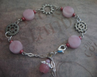 Gears and Angel Chain Bracelet with Pink Beads with handmade card