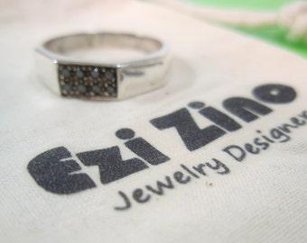 Genuine Ezi Zino Classic mans ring  Black Diamonds 0.16 CT ring solid sterling silver 925