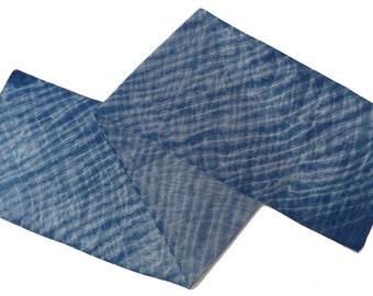 Shibori indigo-dyed silk crepe de chine scarf