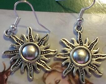Tibetan Silver Sun Earrings