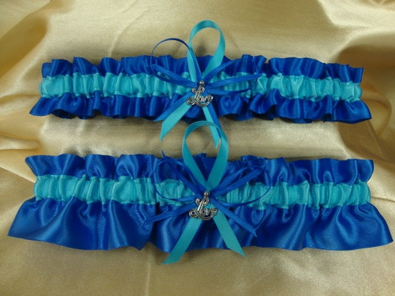 royal blue and turquoise wedding garter set with by starbridal