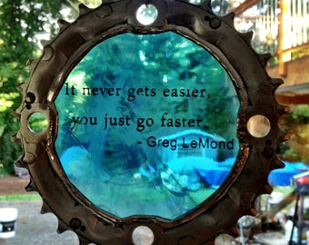 Bicycle Art - Greg Lemond Stained Glass Quote Cog