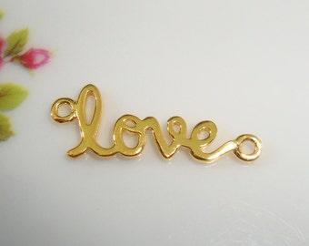 1 pc, LOVE, Artsy Love, Sideways Love, 24K Gold Sterling Silver Love Connector, Link, Pendant - sale - PC-0001
