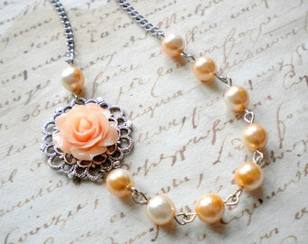 Peach Necklace Pearl And Flower Necklace Bridesmaid Gifts Bridesmaid Flower Necklace Peach Pearl Wedding Jewelry Pastel Necklace
