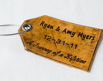 Leather Luggage Tag, Custom Leather Tag, Personalized Luggage Tag, Journey of a Lifetime, Leather Luggage Tag for Newlyweds - Set of Two